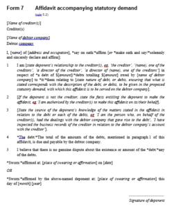form 7 affidavit accompanying statutory demand
