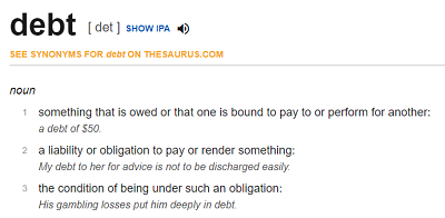 Debt collection professionals what is the meaning of debt